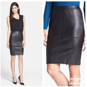 NWT TROUVE Black Leather Pencil Skirt Zipper 6